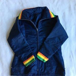 Vintage Jackets & Coats - Vintage accent color stripe retro puffer coat